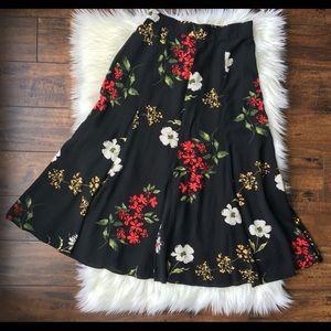 Vintage Sharon Anthony Floral Midi Skirt Size 10